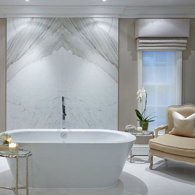 Marble tile back of tub - One of my favourite rooms in our house- the bathroom, I find it so serene and peaceful, perfect for relaxing. #bathroom #bathroomdesign #marble #bath…""