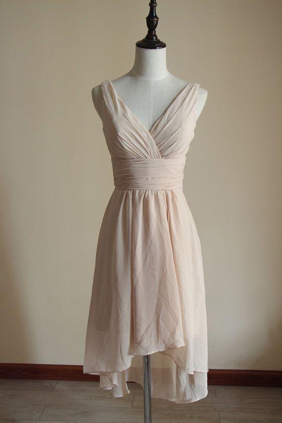 Light Champagne Bridesmaid Dress Knee Length Chiffon High Low Custom