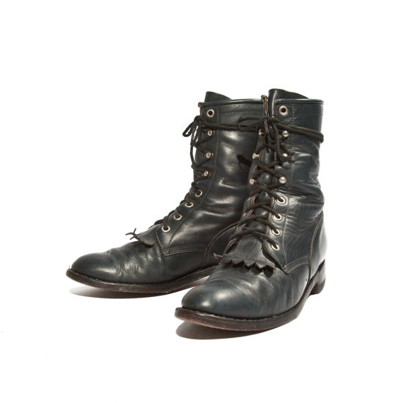 80s Justin Roper Boots Navy Blue Lacers All par RabbitHouseVintage, $88,00