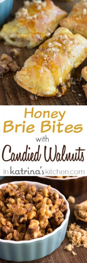 Honey Brie Bites Recipe with Brown Sugar Candied Walnuts - easy and delicious recipe!