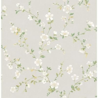 A street 56 sq ft delphine white floral trail wallpaper - Floral wallpaper home depot ...