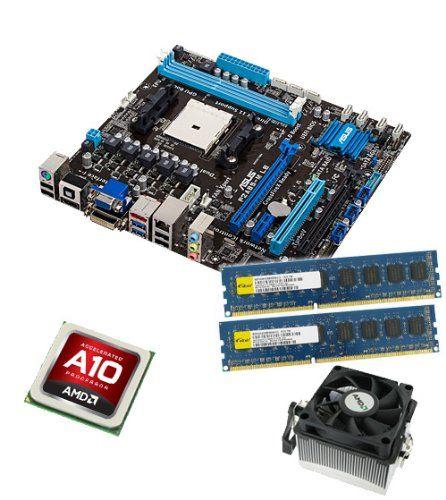 CSL PC Aufrüstkit | Aufrüstset von CSL-Computer-/ AMD A10-5800K 4 × 3,8 GHz APU (4x 3800 MHz) / ASUS F2A85-M LE Mainboard / 16 GB Arbeitsspeicher (2x8192 MB DDR3 RAM 1600 MHz) | CPU Mainboard Bundle | PC Tuning Kit inkl. CSL Softwarekompilation | SpezialTrade beim Einkaufen sparen