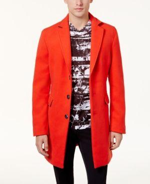 INC Men's Optic Topcoat, Created for Macy's - Red XXL