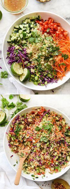 Salade quinoa thaï : 1 tasse de quinoa 1 poivron rouge , haché 1 carotte , pelée et râpée 1 concombre , haché 1 t. edamame congelé , décongelé 6 oignons verts hachés 1-2 t. de chou rouge râpé la sauce de poisson 4 cuillères c. 3 citrons verts , jus 2 cuillères s. de sucre 1 cuillère s. d'huile végétale 1 cuillère s. de gingembre fraîchement râpé 1 cuillère c. d'huile de sésame pincée de flocons de piment rouge ½ tasse arachides hachées ½ tasse de coriandre hachée ¼ tasse de basilic haché