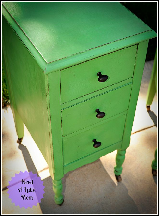 annie sloan antibes green painted furniture   Need A Latte Mom: Antibes Green with Wax