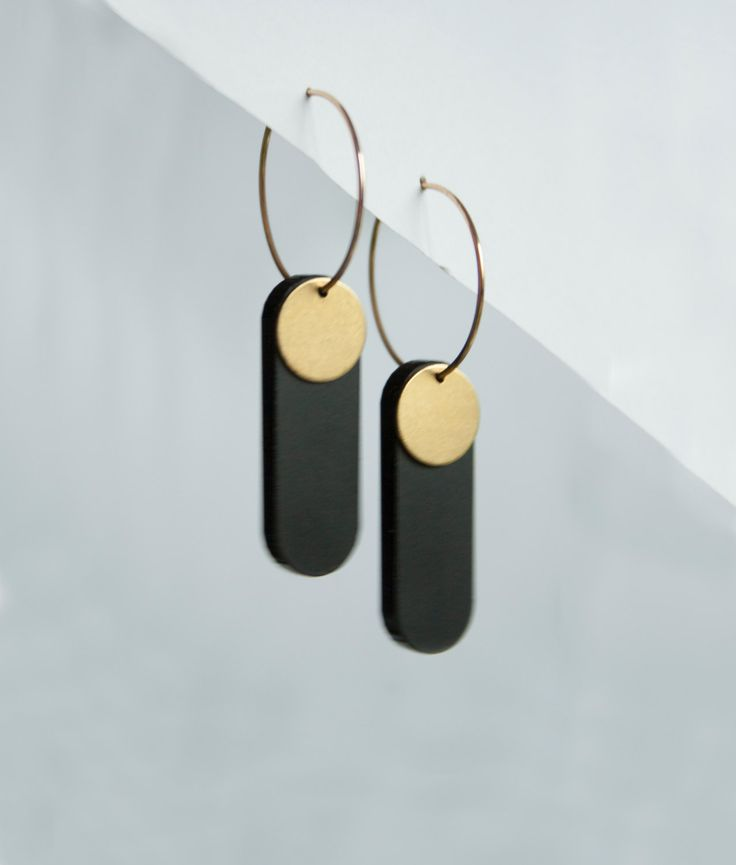 Handmade dangly brass laser cut acrylic earrings - long black jewelry - black gold dangle earrings - statement jewelry - gift box included