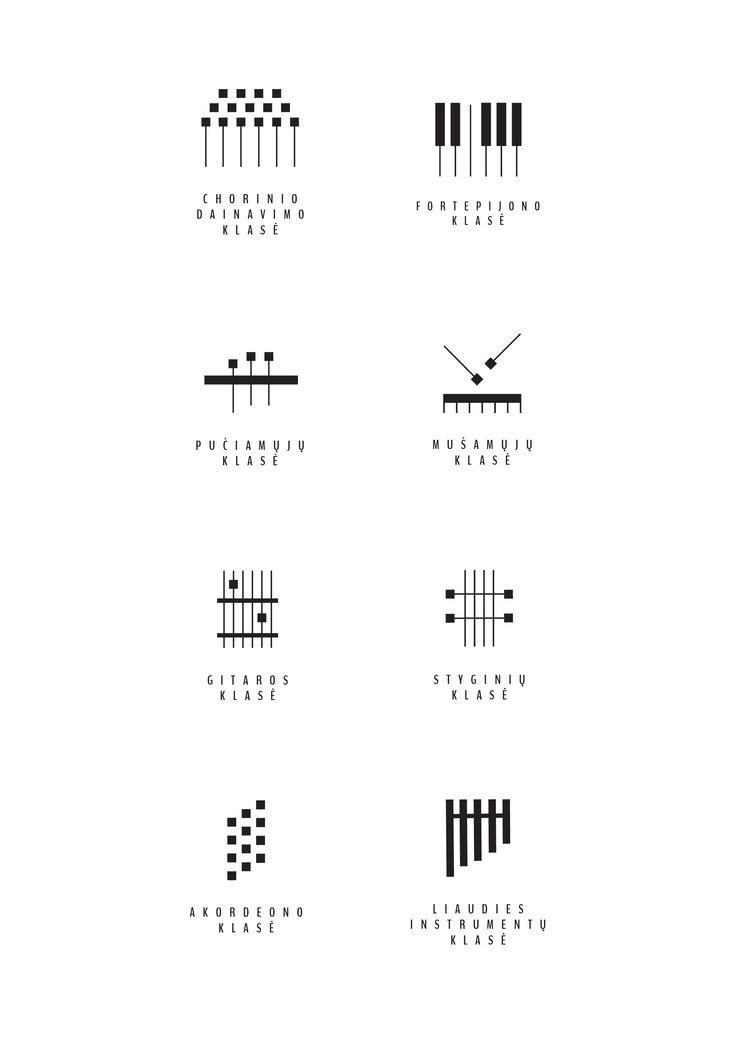 Logo and visual identity of Kaunas 1st music school.