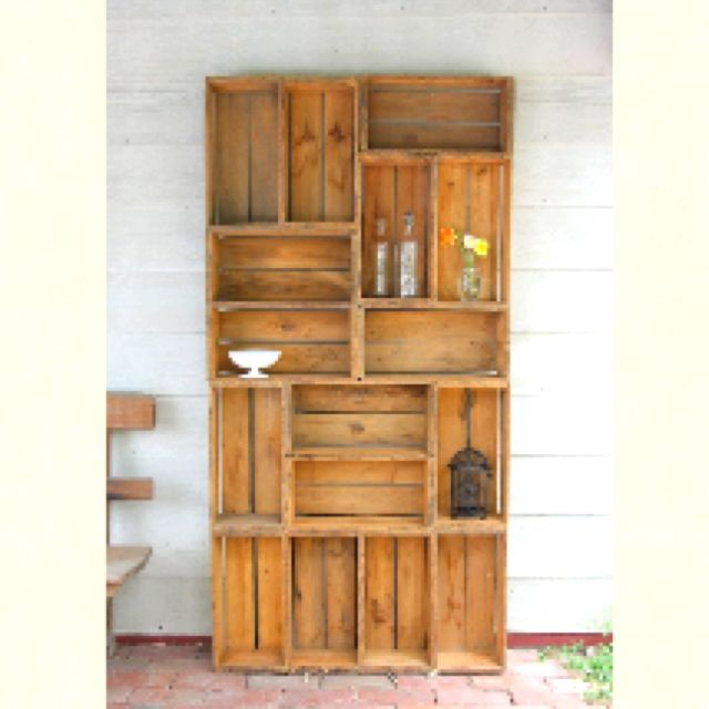 Diy wooden crate shelves home decor pinterest wooden for Shelves made out of crates