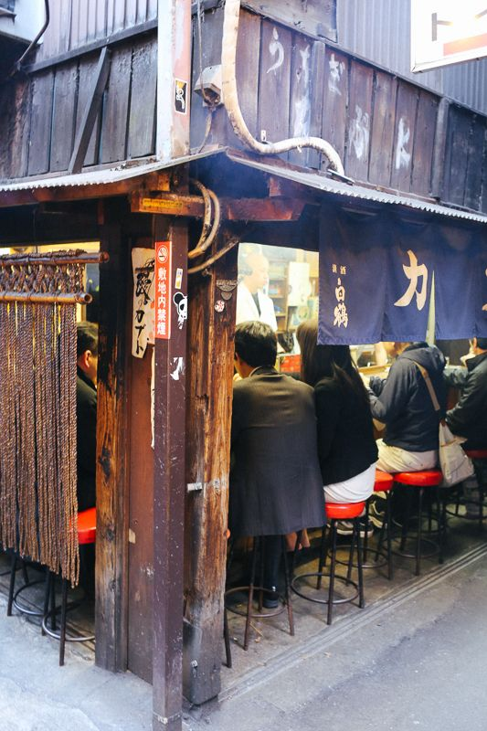 Kabuto Yakitori restaurant on Omoide Yokacho (Memory Lane) in Shinjuku, Tokyo, Japan. Yakitori is pieces of meat, most commonly chicken, on kebabs with different types of sauces and sometimes vegetables. I ate a lt f yakitori while I was in Japan; it's really good.