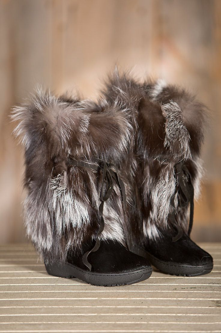 Women's Vera Calfskin and Silver Fox Fur Boots by Overland Sheepskin Co. (style 51802)