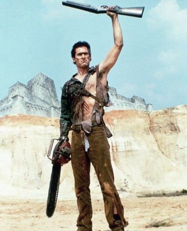 "Army of Darkness (aka. Evil Dead 3) Q. ""Are all men from the future loud mouth braggarts?"" A. ""Nope. Just me baby.... just me."""