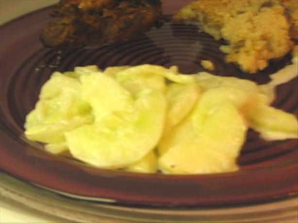 Marinated Cucumbers in Sour Cream from Food.com: Next to dipped in ...