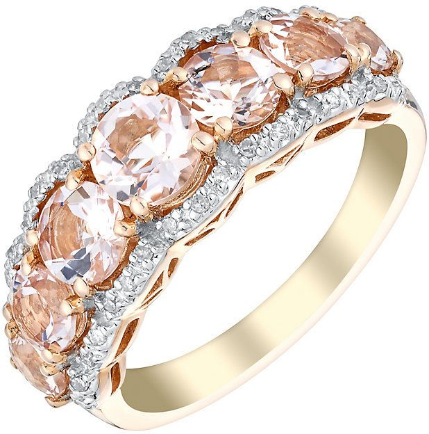 DIAMOND RING ~ Vivid 9ct rose gold morganite and 10pt diamond ring