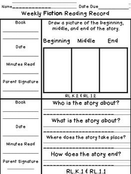 Kindergarten$  1st Grade Weekly Reading Records w/ Comprehension Response Options
