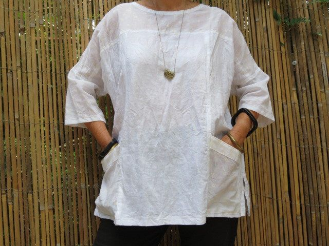 Japanese style top, white linen top, linen clothing, women's loose top, handmade, summer top, linen and cotton,  maternity top by LinenStudioB on Etsy https://www.etsy.com/listing/174254042/japanese-style-top-white-linen-top-linen