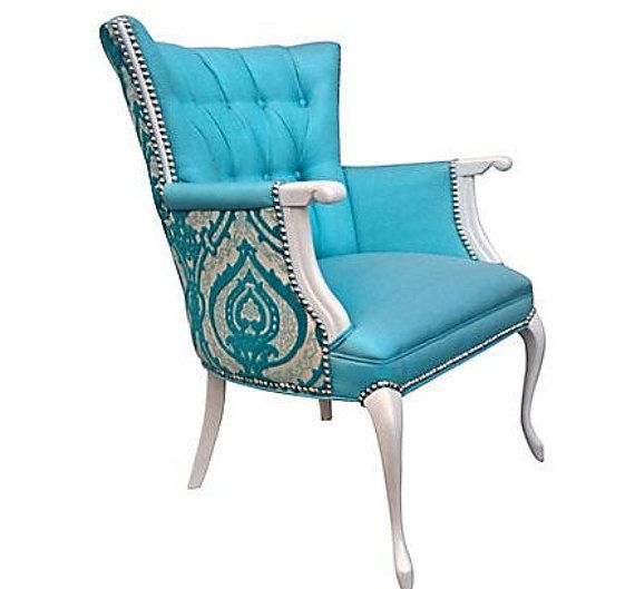 Vintage French Victorian Queen Anne Upholstered Arm Chair Aqua Turquoise  Silk Damask Burnout Velvet Tufted Nailhead Wing Back741 best Accent Chairs images on Pinterest   Accent chairs  Barrel  . Antique Queen Anne Upholstered Chairs. Home Design Ideas
