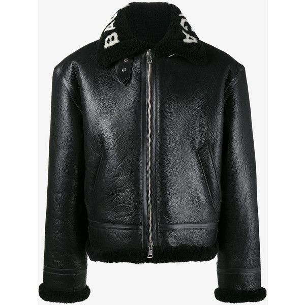 Balenciaga Bombardier Shearling Leather Jacket ($3,930) ❤ liked on Polyvore featuring men's fashion, men's clothing, men's outerwear, men's jackets, black, mens shearling jacket, mens shearling leather jacket, mens leather jackets and mens real leather jackets
