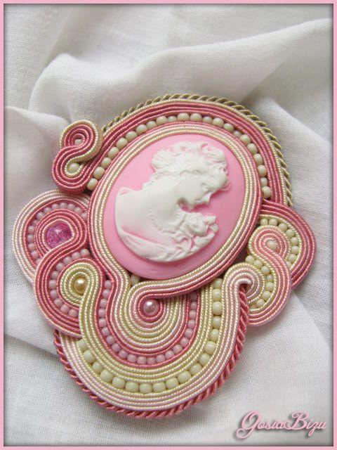 Brooch Lady in pastels soutache by GosiaBizu.deviantart.com on @deviantART
