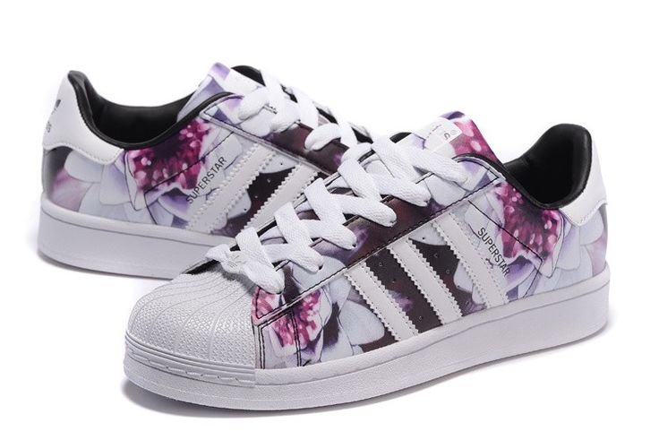 2016 Femme Adidas Originals Superstar Lotus Print Casual Chaussures Blanche…
