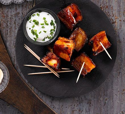 Your guests will snap up these cubes of crispy belly pork in sticky, sweet whiskey marinade with soy, anise and honey flavours
