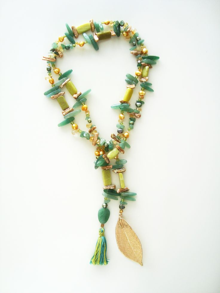 DivinoDon necklace made of jade, aventurine, pearls and peridot Find more at www.divinodon.com