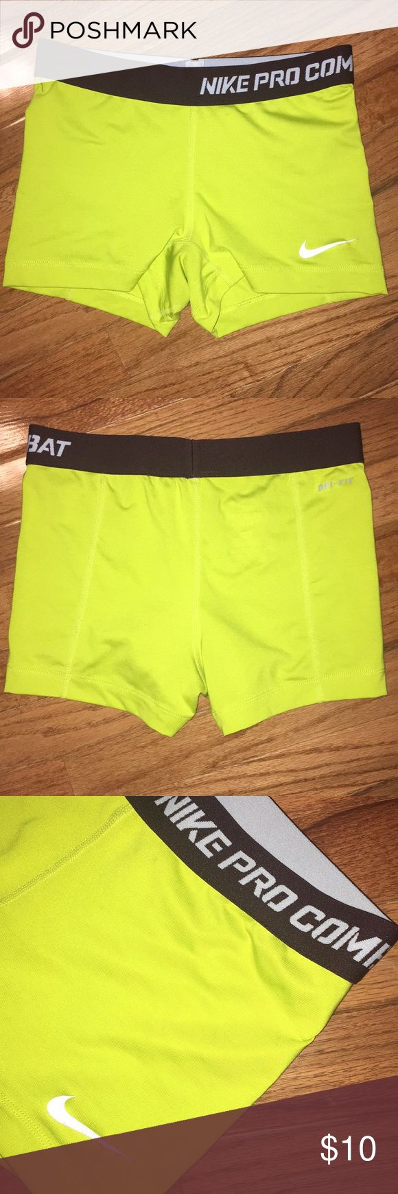 Nike Pro shorts Nike Pro Combat Dri-fit compression shorts Neon green. Good condition. Smoke free home. Nike symbol slightly worn as pictured Make an offer! Nike Shorts