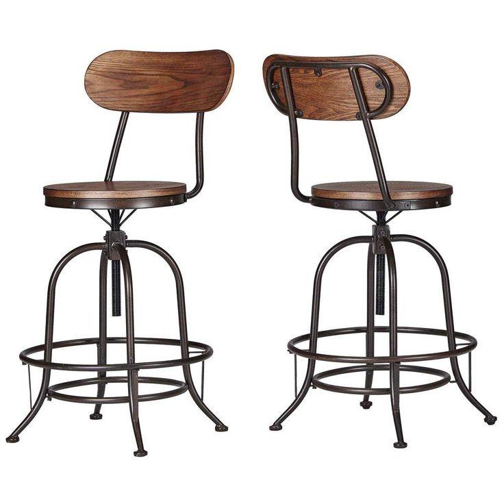HomeSullivan Olson Industrial Swivel Bar Stool in Brown (Set of 2)