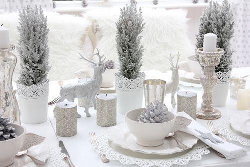 Indoor Winter Wonderland | White Shabby Chic Christmas Table Decor from White and Shabby Blog