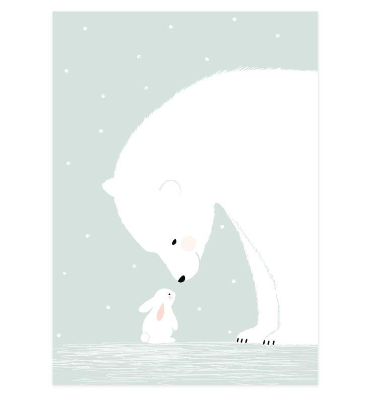 polar bear & bunny poster