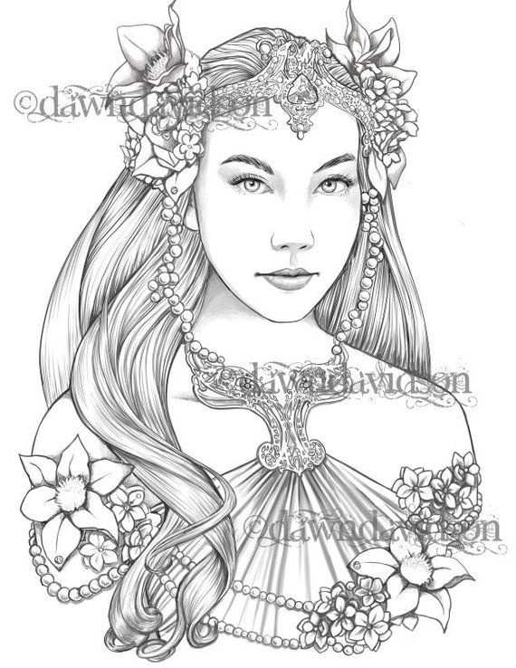 Queen Of The Elves Coloring Page Printable Colouring For Etsy In 2021 Grayscale Coloring Coloring Pages Fairy Coloring