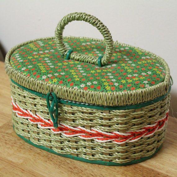 TREASURY Vintage Wicker Rattan Sewing Craft by TreasuresFromUs, $18.00