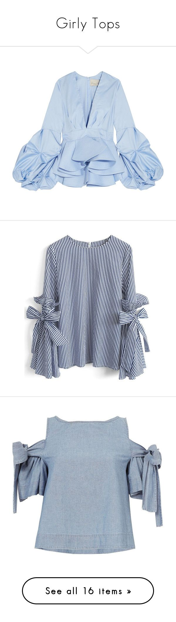 """Girly Tops"" by carmen-ireland ❤ liked on Polyvore featuring tops, blouses, flounce tops, peplum blouse, plunging neckline blouse, ruched tops, blue top, blue, bell sleeve tops and ruffle top"