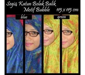Jilbab Segiempat Katun Bolak Balik Motif Bubble