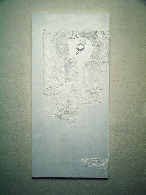 SIGNUM I.  -kombinovaná technika, dřevěný panel -mixed media, wood panel 78 x 38 x 3 cm, 2015