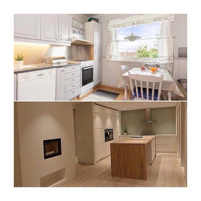 Before and after photos of @enderekkehuset's kitchen  #kvik #kvikkitchen #manobykvik #renovering #danishdesign #kitchen #køkken