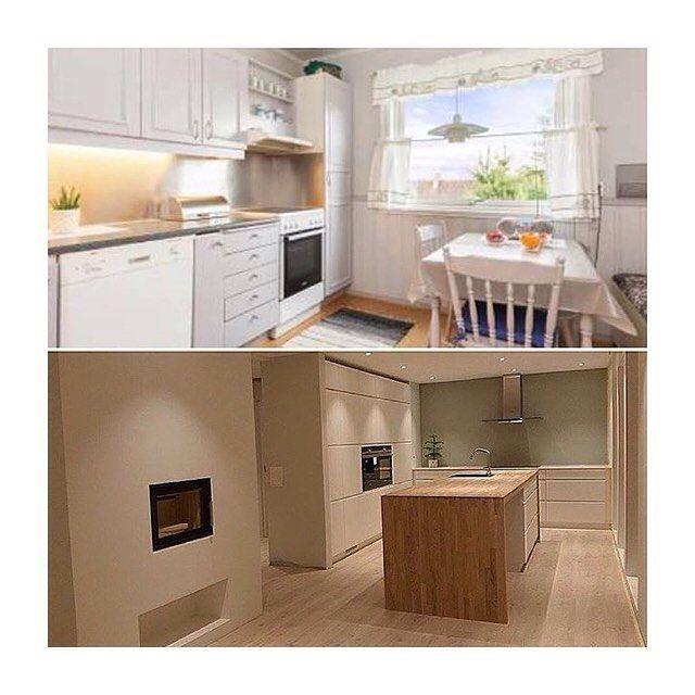 Before and after photos of @enderekkehuset's kitchen  #kvik #kvikkitchen #manobykvik #renovering #danishdesign #kitchen #køkken