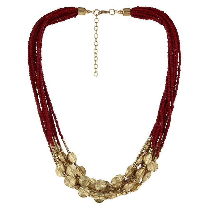 Bollywood Casual Wear Mehroon and Golden Beads Indian Women Necklace Jewelry Set #natural_gems15