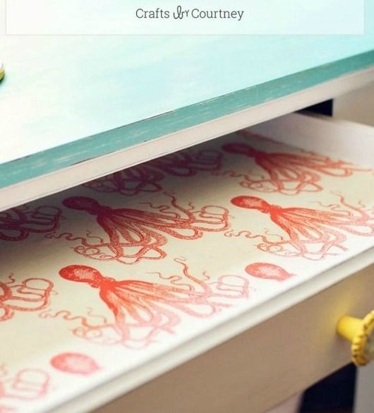 Coastal Fabric Lining for Drawers.... http://www.completely-coastal.com/2017/03/drawers-lined-with-coastal-fabric.html