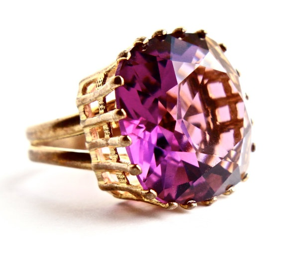 Vintage Huge Gold Tone Purple Stone Ring - Adjustable Statement Costume Jewelry Cocktail Ring / 20 Carat Faceted Amethyst Purple by Maejean Vintage, $25.00