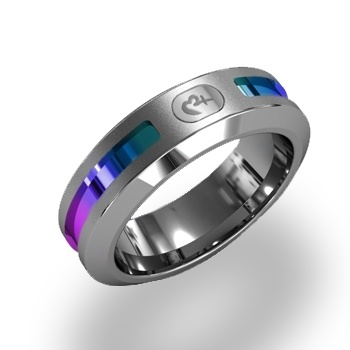 A true Love and Pride inspiration, this grey titanium ring features a bold center groove of andonized stainless steel that gives off a shimmering multi-color stripe. This ring leaves other rainbows in the dust!  This ring measures 6.5mm.    $149