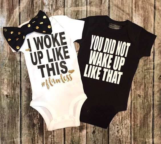 I Woke Up Like This You Did Not Wake Up Like That Twin Baby Onesie Set…