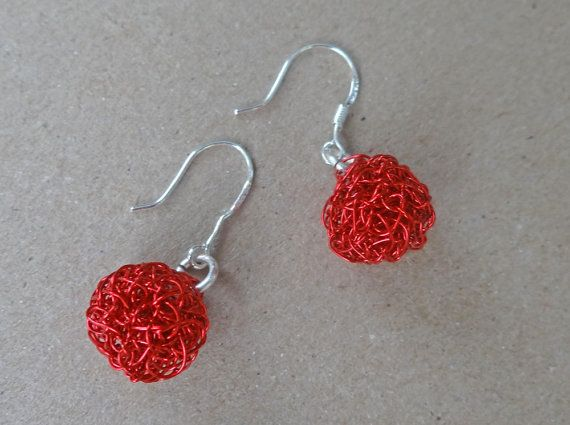 Valentine's Day Gift Red crochet earrings . Handmade by ByDrora, $25.00