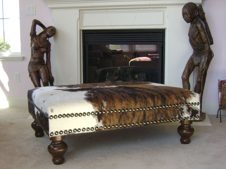 Cowhide ottoman is the best for living room decor living for Cowhide decorating ideas