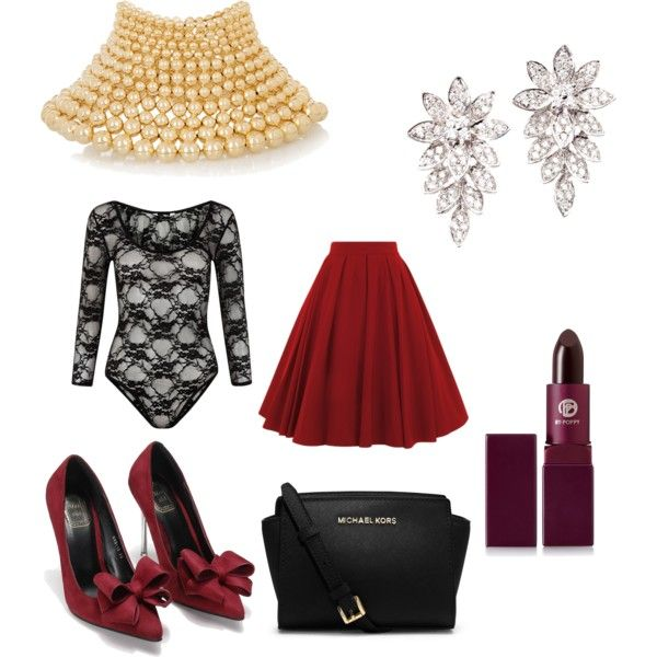 lady in red by carlifornia101 on Polyvore featuring polyvore fashion style MICHAEL Michael Kors Rosantica Lipstick Queen