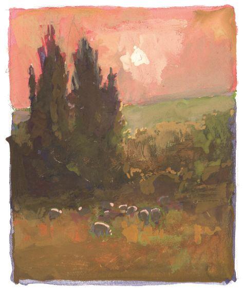 Sheep at Sundown – Thomas Paquette (gouache)