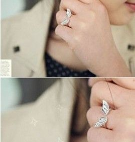 Min Order $10(Mix Order)Free Shipping!Happy couple angel wings open ring adjustable lovers ring $0.35