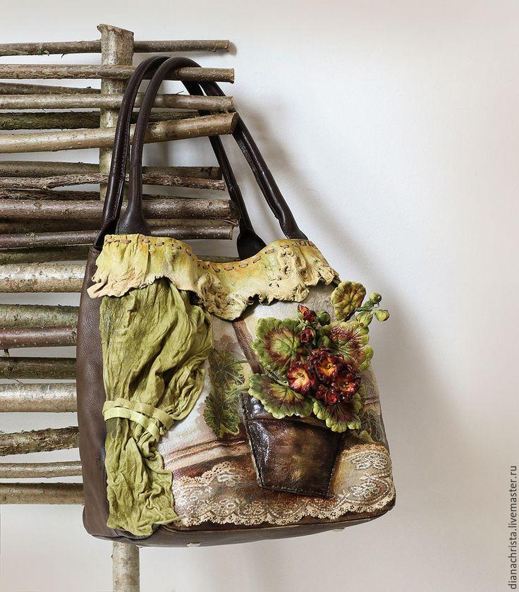 """Купить Сумка из нат. кожи """" Мои воспоминания..."""" - коричневый, цветочный, женская сумка"""