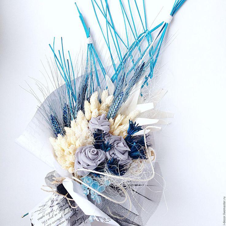 Купить Январский букет. Букет на день рождения. Сухоцветы. - голубой, букет, сухоцветы, букет москва