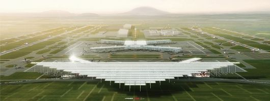 Mexico City International Airport competition entry by JAHN + LOGUER + ADG. Image courtesy of JAHN.