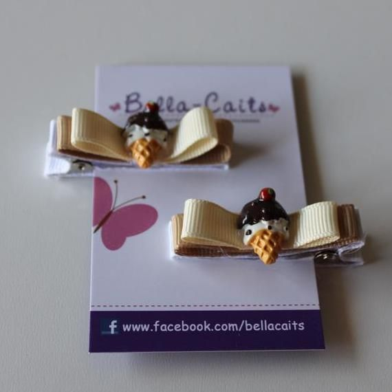 $5.00 Set of 2 Ice cream Hair clips by Bella-Caits on Handmade Australia